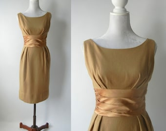 Vintage 1950 Light Brown Wool and Satin Wiggle Dress