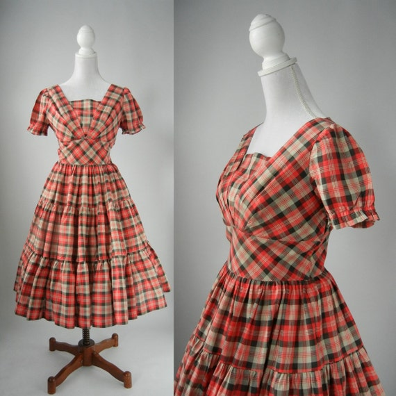 Vintage 1950s Red Checkered Gingham Country Dress