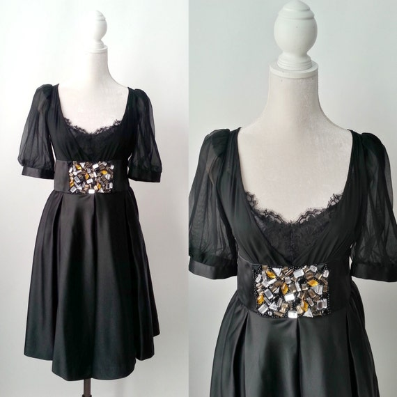 a2114f58ab Retro Black Silk Party Formal Dress by Dorian Ho Dress