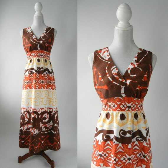 Vintage Maxi Dress, Vintage Dress, Vintage Hawaiia