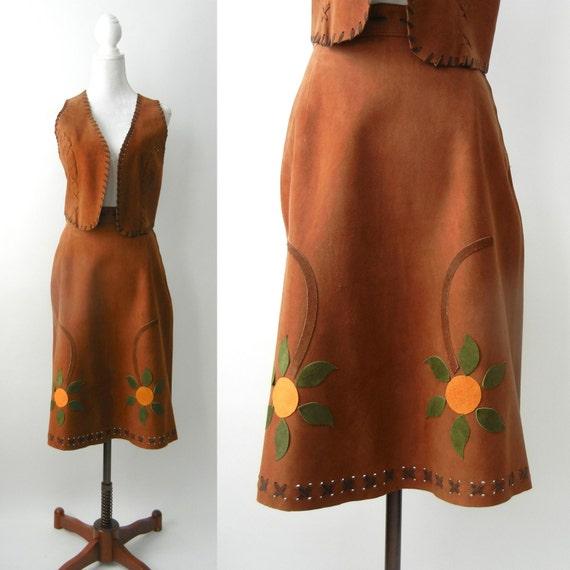 Vintage 1970s Brown Suede Skirt & Vest Set, 70s Hi
