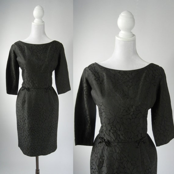 Vintage 50s Dress, 1950 Black Dress, Retro 50s Coc