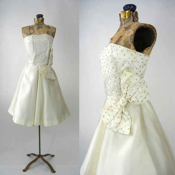 Vintage 50s Dress, Vintage Ivory Satin Dress, 1950
