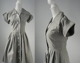 Vintage Dress, Vintage Style Dress, 1950s Style Dress, Rockabilly Dress, Grey Vintage Dress, Vintage Shirt Dress, Reproduction Dress, Retro