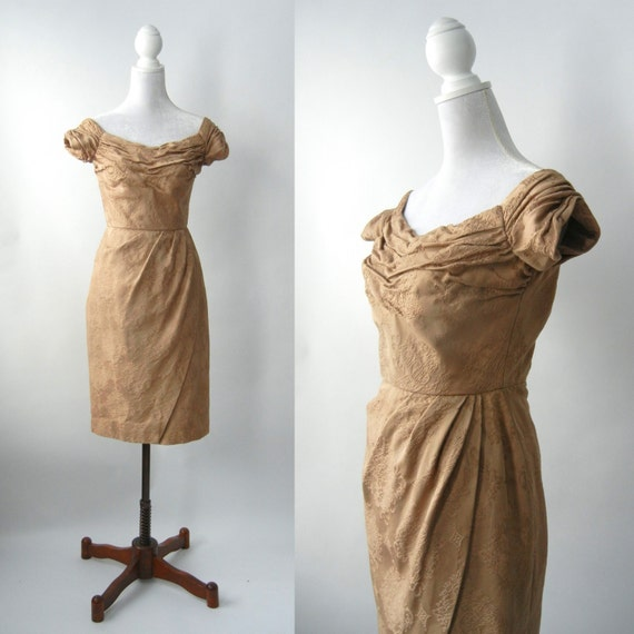Vintage 50s Dress, 1950 Brown Dress, 50s Cocktail