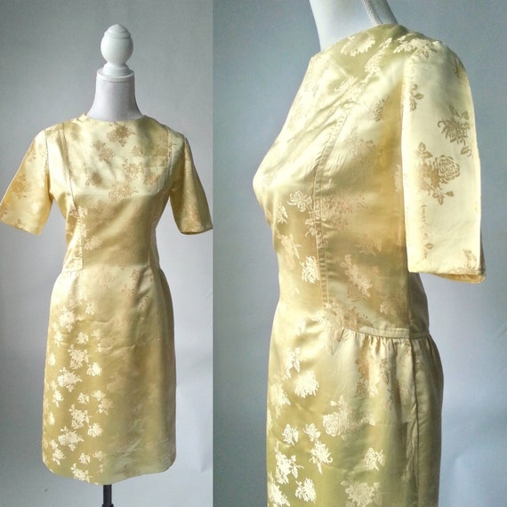 Vintage 1950s Gold Silk Damask Dress