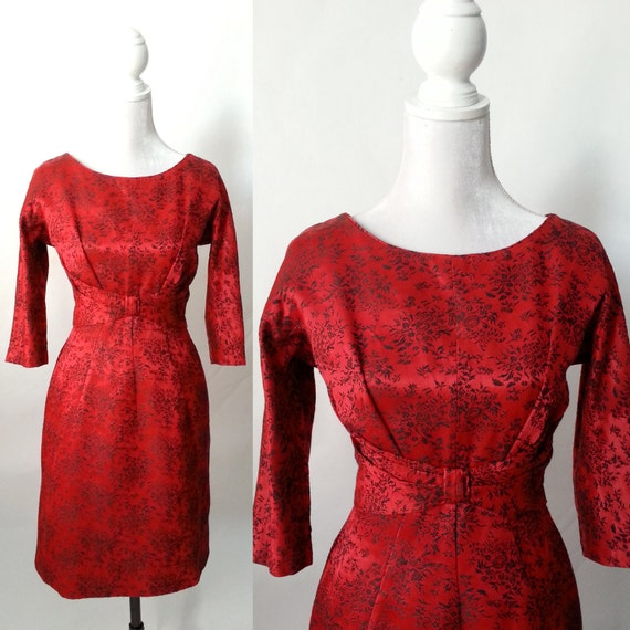 Vintage Red Dress, 1950s Red Damask Dress, 1950s R
