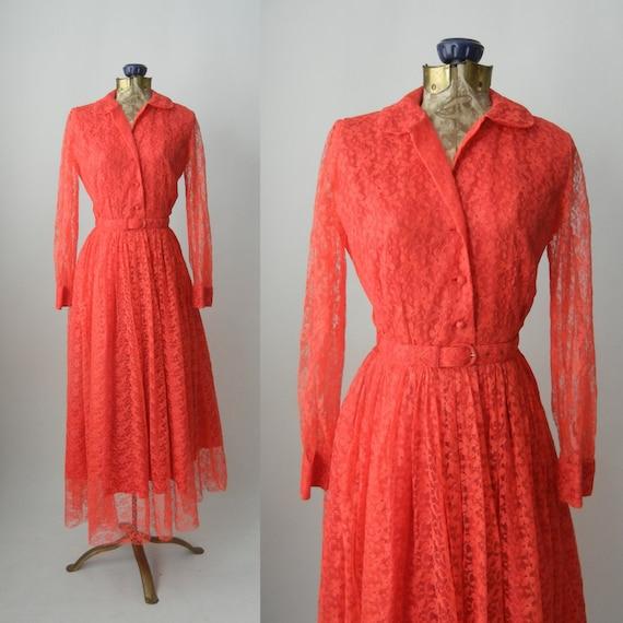 Vintage Dress, 1950s Lace Dress, Pink Lace Gown, V