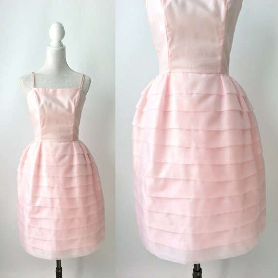 Vintage 1950s Dress, 1950 Pink Chiffon Dress, Retr