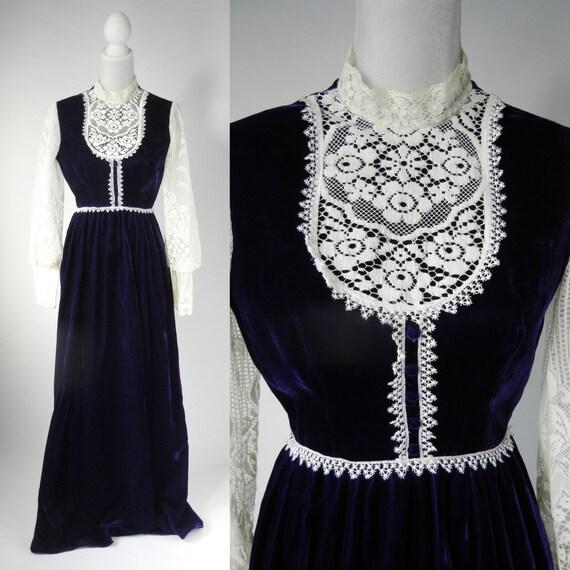 Vintage Maxi Dress, Vintage Velvet Gown, Vintage M