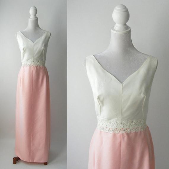Vintage 1950s Gown, Vintage Pink Wedding Dress, Vi