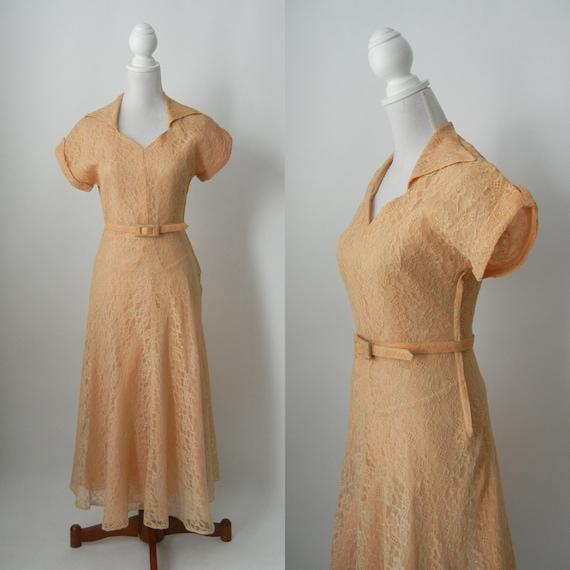 Vintage 1940s Light Brown Lace Belted Dress, Weddi