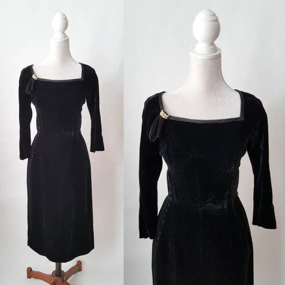 Vintage 1950s Black Velvet and Silk Party Dress by