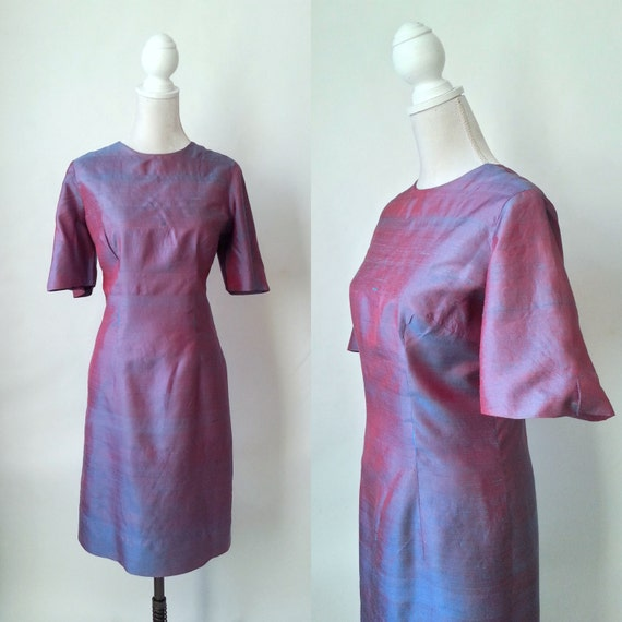 Vintage Purple Dress, Purple Silk Dress, Vintage S
