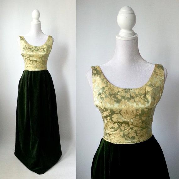 Vintage Gown, Gold Vintage Dress, Green Vintage Dr