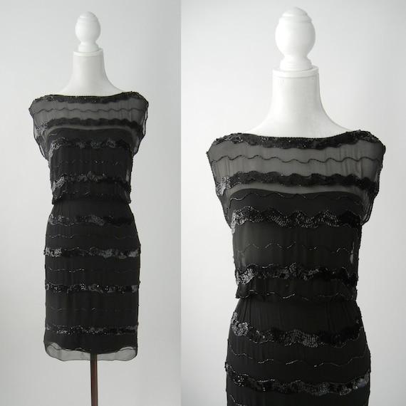 Vintage 1950s Little Black Silk Chiffon Dress by F