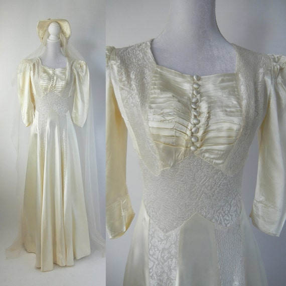 Vintage Wedding Dress, 1930s Wedding Dress, 30s We