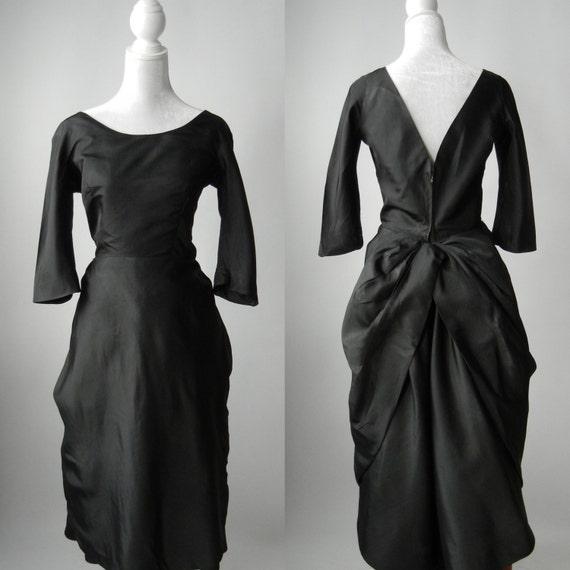 Vintage Black Dress, Couture Vintage Dress, Nettie