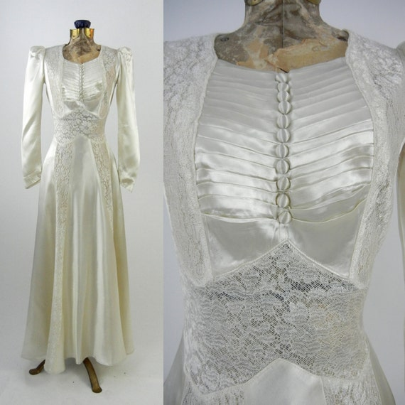 Vintage Wedding Dress, 1930s Satin Wedding Gown, V