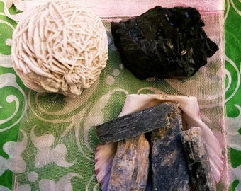 Protective High Vibration Gemstones Desert Rose Selenite, Blue Kyanite and Black Tourmaline that Clear the Chakras, Aura Protection & more!