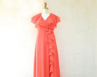 70s Evening Dress, 1970s Prom Dress, Peach Silk Chiffon Dress