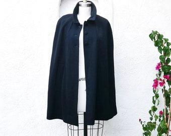 Black Wool Cape, Dark Academia Aesthetic