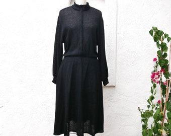 Dark Academia, Winter Dress, S to L, Black Sweater Dress