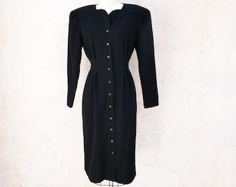 80s Black Midi Dress, Size S