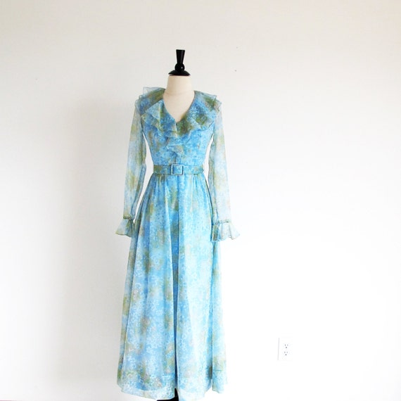 Vintage 60s Boho Maxi, XS, Sheer Water Color Dress