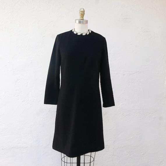 Sixties Black Wool Dress with Long Sleeves