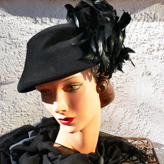 1930s black feather hat
