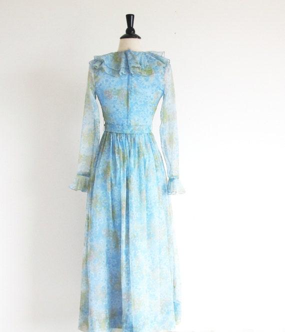 Vintage 60s Boho Maxi, Long Sleeve Dress, Long 19… - image 4