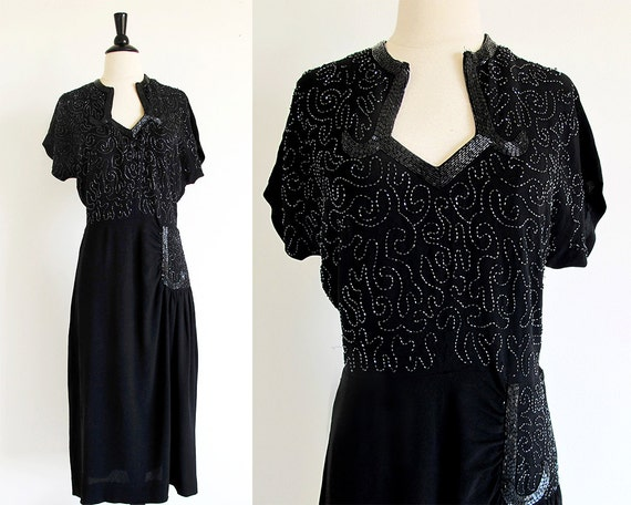 40s Black evening dress, SIze M, 1940 Beaded Rayon