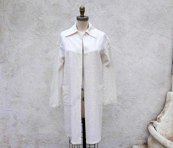 1920s Coat, White Linen Duster