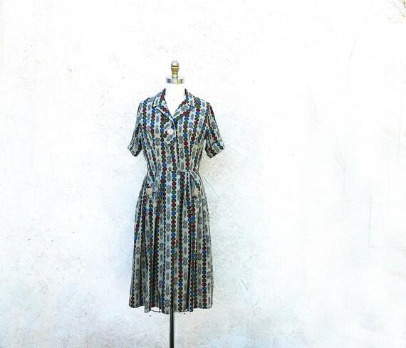 1950s Day Dress, Novelty Print Dress, Cotton Frock