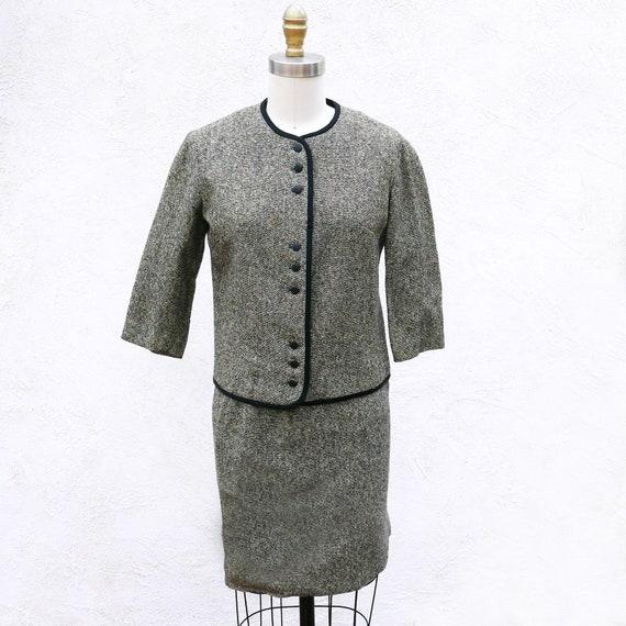 60s Tweed Mini Skirt Suit