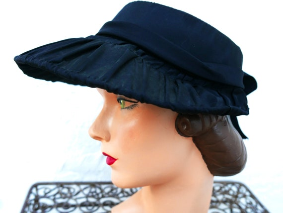 Antique Victorian Bonnet, Black Steampunk Hat - image 8
