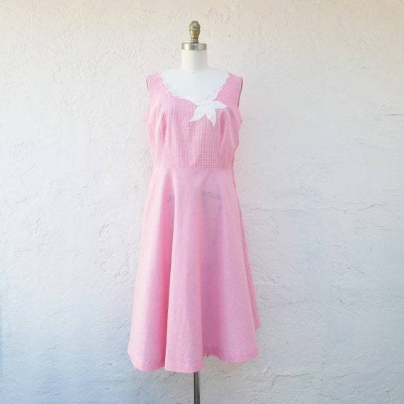 1950's Pink Cotton Gingham  Dress