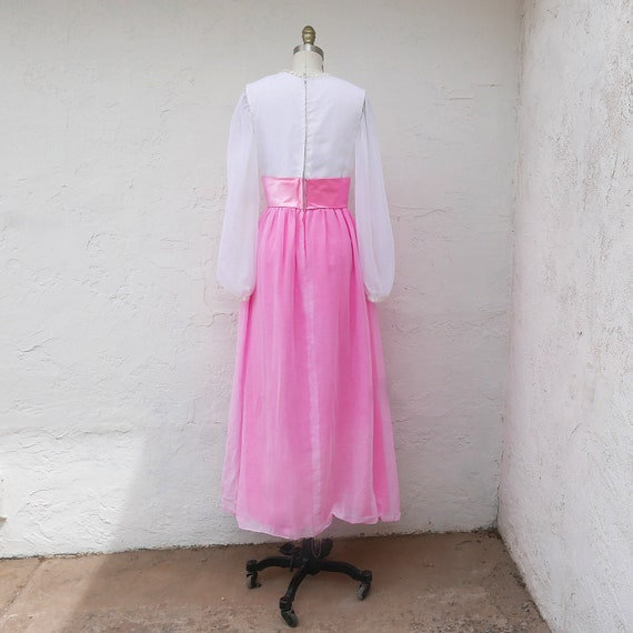 Pink Maxi Dress, 60s PInk Prom, Long Sleeve Formal - image 8