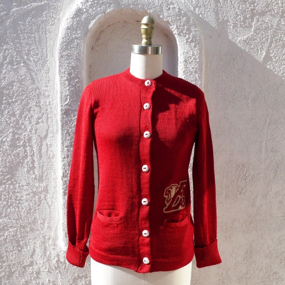 Red 40s Varsity Sweater Small size