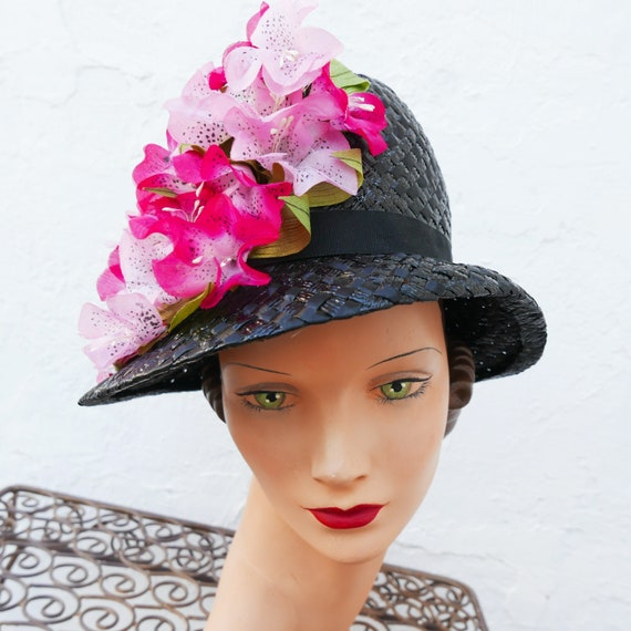 Floral Hat, Vintage 1950s Black Raffia Hat with Pi