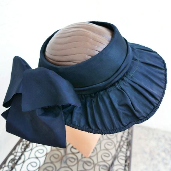 Antique Victorian Bonnet, Black Steampunk Hat - image 2