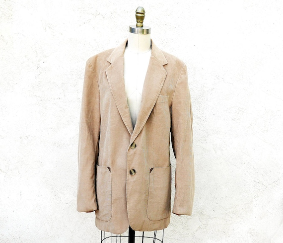 Vintage Corduroy Jacket, Men's Medium Beige Sports