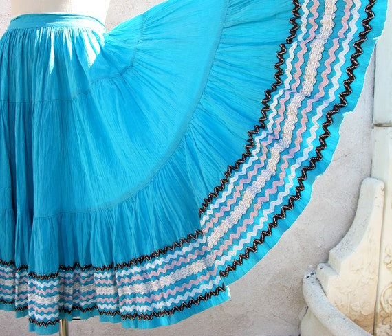 1950's Mexican Full Circle Skirt, Turquoise Fiesta