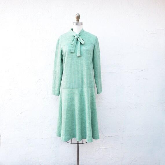 Warm Light Green 1970s Knit Dress