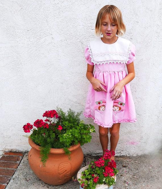 Little Girls Pink 80s Dress, Vintage Strawberry Sh