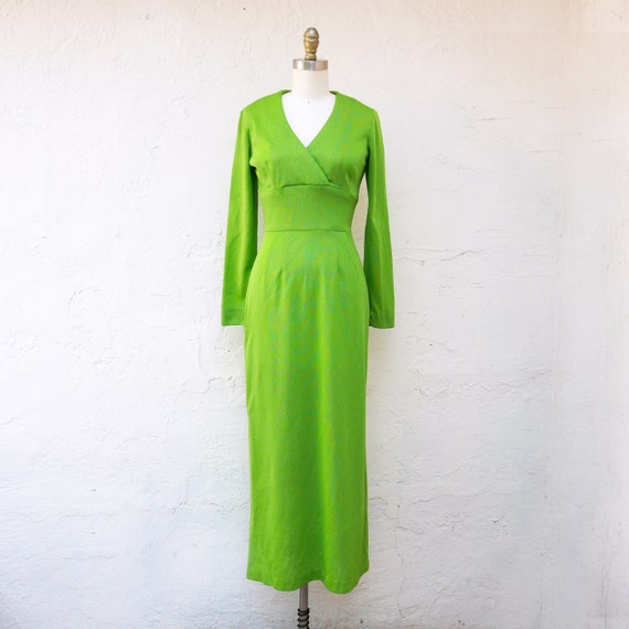 1970s Green Dress, Long Sheath Dress