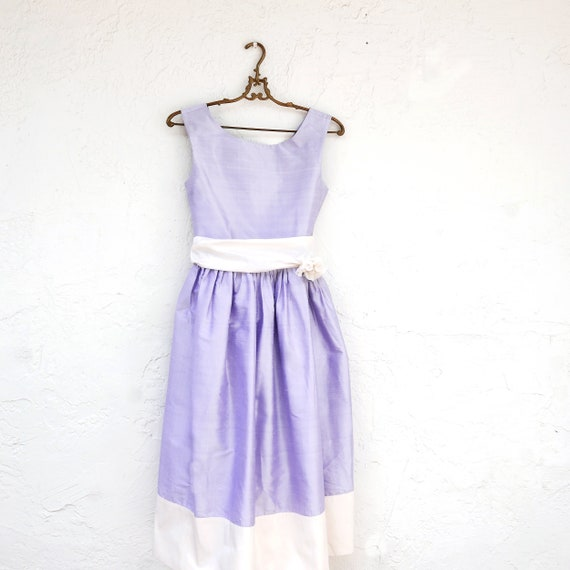 Lavender Silk Dress, Flower Girl Dress, Girls Summ