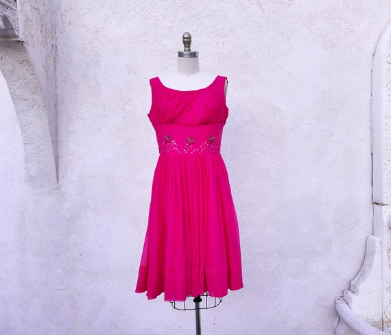 1950s  Hot Pink Dress, Party Dress,  Chiffon Full