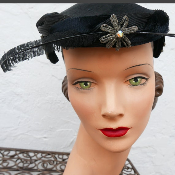 1950s Little Black Hat with Feathers, Kentucky Der